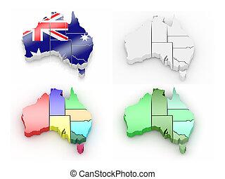 landkarte, australia, dreidimensional