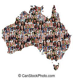 landkarte, australia, personengruppe, multikulturell, junger, integration, andersartigkeit