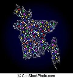 landkarte, bangladesch, leiche, licht, flecke, hell, masche