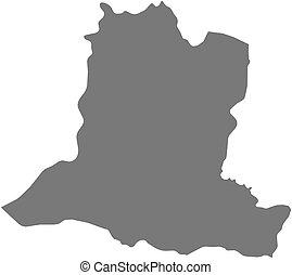 landkarte, basse-kotto, -, (central, republic), afrikanisch
