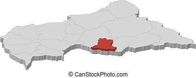landkarte, basse-kotto, zentral, -, republik, 3d-...