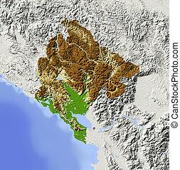 landkarte, beschattet, montenegro, erleichterung