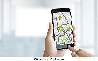 landkarte, bestimmungsort, strecke, gps, vernetzung, ...