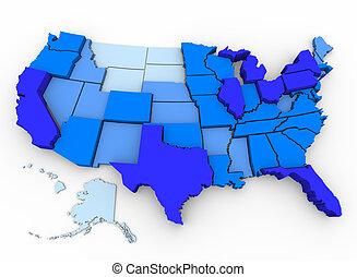 landkarte, bevölkert, usa., -, staaten, meisten, ...