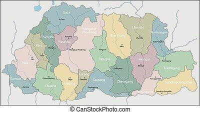 landkarte, bhutan