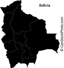 landkarte, bolivien, schwarz