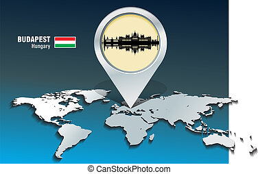 landkarte, budapest, skyline, stift