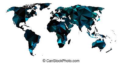 landkarte, bunte, abstrakt, dreieckig, beschaffenheit, welt