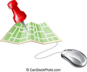 landkarte, computermaus, stift