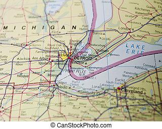 landkarte, detroit