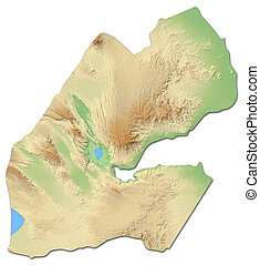 landkarte, djibouti, -, erleichterung, 3d-rendering
