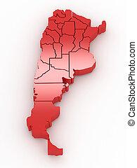 landkarte, dreidimensional, argentina., 3d