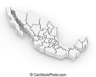 landkarte, dreidimensional, mexiko