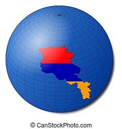 landkarte, erdball, abbildung, fahne, armenien, abstrakt
