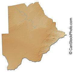 landkarte, -, erleichterung, 3d-rendering, botswana