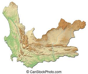 landkarte, erleichterung, -, africa), (south, 3d-rendering, kap, westlich