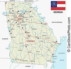 landkarte, fahne, georgia, straße
