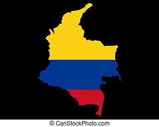 landkarte, fahne, kolumbianer, kolumbien