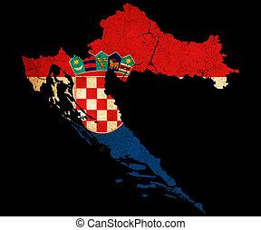 landkarte, fahne, kroatien, grunge, grobdarstellung