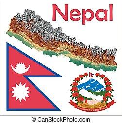 landkarte, fahne, nepal, mantel