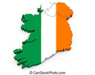 landkarte, fahne, republik, irland, 3d