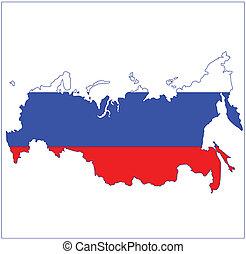 landkarte, fahne, russland