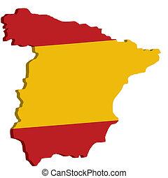landkarte, fahne, spanien