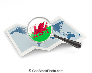 landkarte, fahne, wales, vergrößert