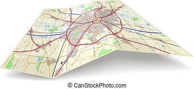 landkarte, falten