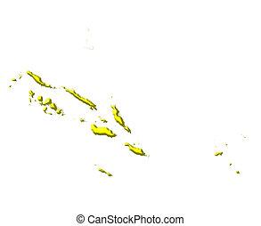 landkarte, farbe, national, solomon inseln, 3d