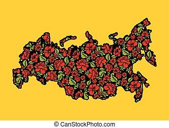 landkarte, federation., pattern., abbildung, traditionelle , khokhloma., staat, blumenrahmen, patriotisch, russische