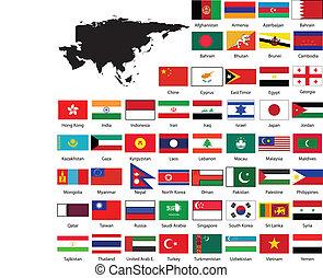 landkarte, flaggen, asia