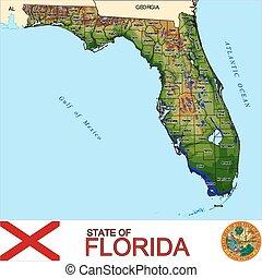 landkarte, florida, grafschaften