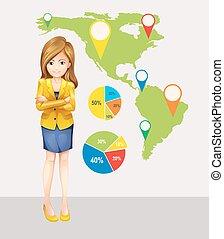 landkarte, fokussiert, stellen, geschäftsfrau