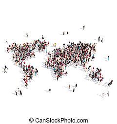 Landkarte, FORM, Leute, Gruppe, Welt