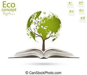 landkarte, form, rgeöffnete, steigend, welt, baum, book.