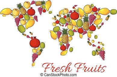 landkarte, früchte, vektor, welt, frisch
