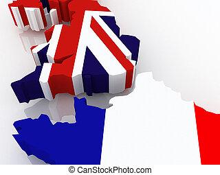 landkarte, france., england
