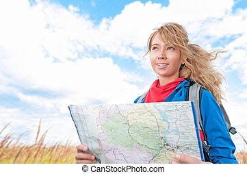 landkarte, frau, tourist, sommer, junger, field., glücklich