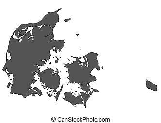 landkarte, -, freigestellt, dänemark