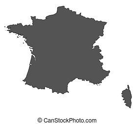 landkarte, -, freigestellt, frankreich