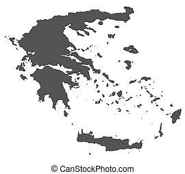 landkarte, -, freigestellt, griechenland