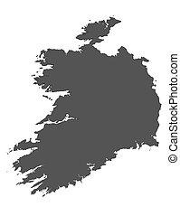 landkarte, -, freigestellt, irland