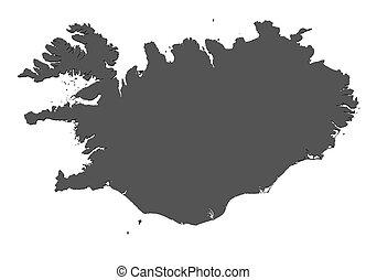 landkarte, -, freigestellt, island