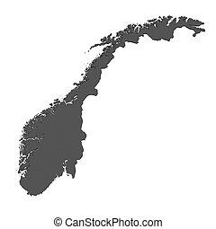 landkarte, -, freigestellt, norwegen