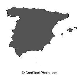 landkarte, -, freigestellt, spanien