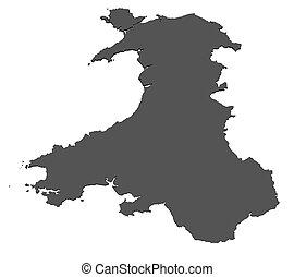 landkarte, freigestellt, wales