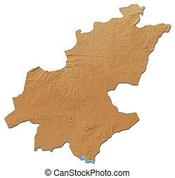 landkarte, gauteng, -, africa), erleichterung, 3d-rendering, (south