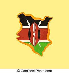 landkarte, gefärbt, -, fahne, kenia, kenianer