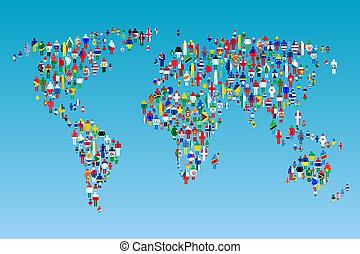 landkarte, gemacht, leute, globalisation, flaggen, welt